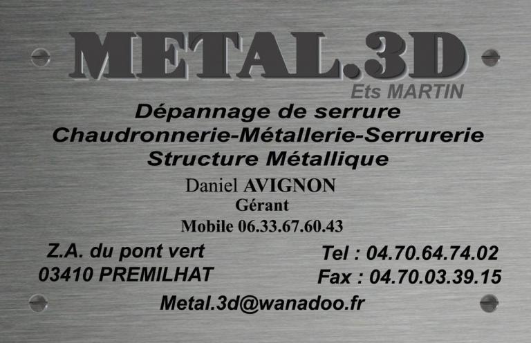 Carte De Visite Metal 3D
